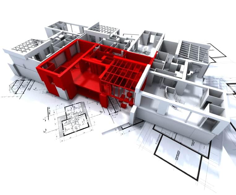 Red apartment mockup on blueprints
